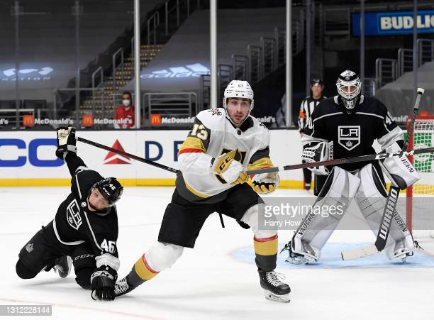 Tomas Jurco of the Vegas Golden Knights and Blake Lizotte of the Los Angeles Kings skate after the puck during the third period in a 4-2 Knights win...