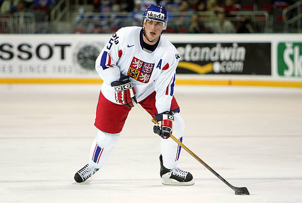 Tomas Kaberle 15 Of The Czech Republic Skates With Puck During IIHF World