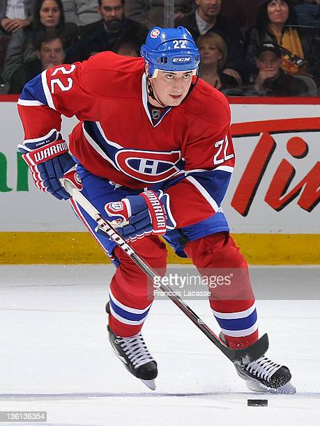 Tomas Kaberle of the Montreal Canadiens skates up the ice with the puck against the Philadelphia Flyers during the NHL game on December 15 2011 at...