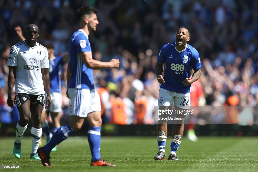 Tomas Kalas of Birmingham City celebrates at the final whistle during the Sky Bet Championship match between Birmingham City and Fulham at St Andrews (stadium) on May 6, 2018 in Birmingham, England.