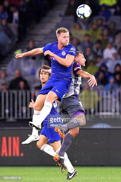 Tomas Kalas of Chelsea and Brendon Santalab of Perth Glory compete for the ball during the international friendly between Chelsea FC and Perth Glory...