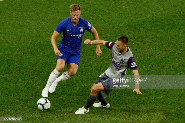 Tomas Kalas of Chelsea and Chris Harold of the Glory compete for the ball during the international friendly between Chelsea FC and Perth Glory at...