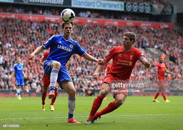 Tomas Kalas of Chelsea battles with Steven Gerrard of Liverpool during the Barclays Premier League match between Liverpool and Chelsea at Anfield on...