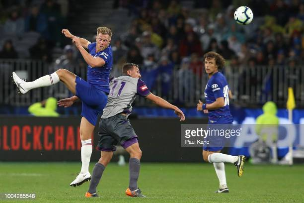 Tomas Kalas of Chelsea heads the ball during the international friendly between Chelsea FC and Perth Glory at Optus Stadium on July 23 2018 in Perth...