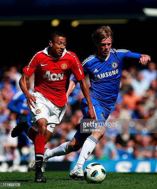 Tomas Kalas of Chelsea in action against Jesse Lingard of Manchester United during the FA Youth Cup sponsored by Eon semi final first leg match...