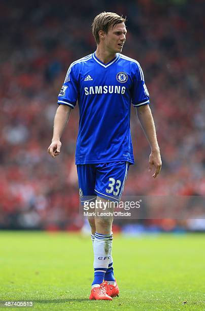Tomas Kalas of Chelsea looks on during the Barclays Premier League match between Liverpool and Chelsea at Anfield on April 27 2014 in Liverpool...