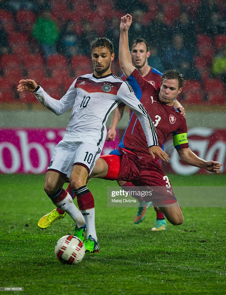 Tomas Kalas of Czech Republic (R) battles for the ball with Moritz Leitner (L) of Germany during the international friendly match between U21 Czech Republic and U21 Germany on November 18, 2014 in Prague, Czech Republic.
