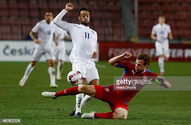 Tomas Kalas of Czech Republic battles for the ball with Nathan Redmond of England during the international friendly match between U21 Czech Republic...