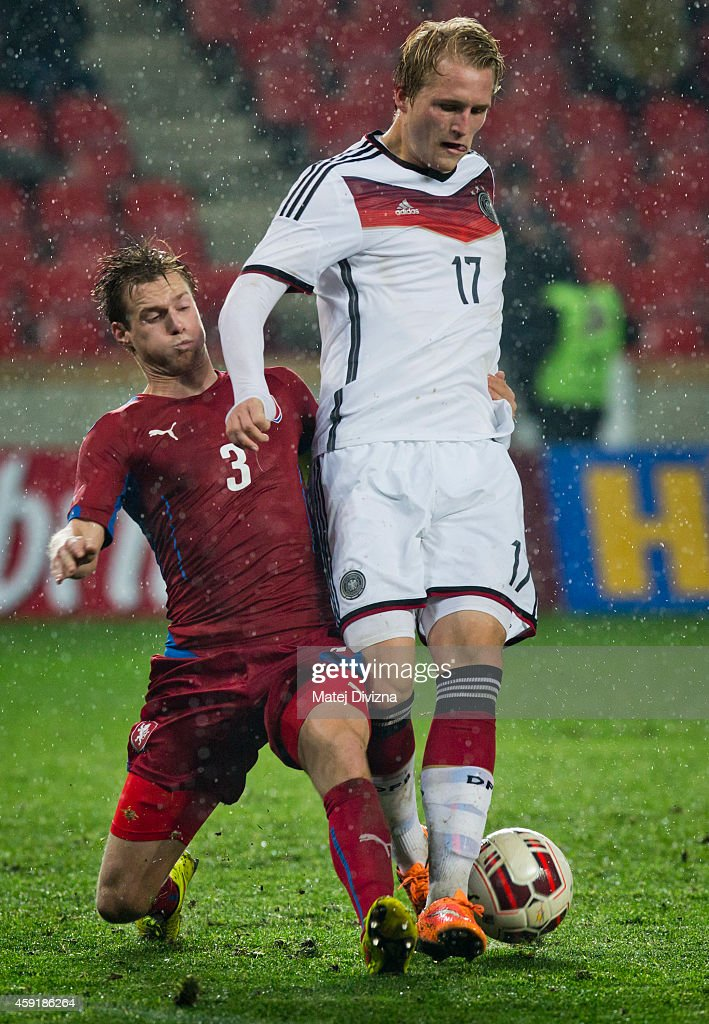 Tomas Kalas of Czech Republic (L) battles for the ball with Philipp Hofmann of Germany during the international friendly match between U21 Czech Republic and U21 Germany on November 18, 2014 in Prague, Czech Republic.