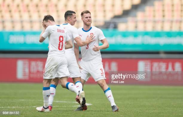 Tomas Kalas of Czech Republic celebrates scoring his team's goal during 2018 China Cup International Football Championship between China and Czech...