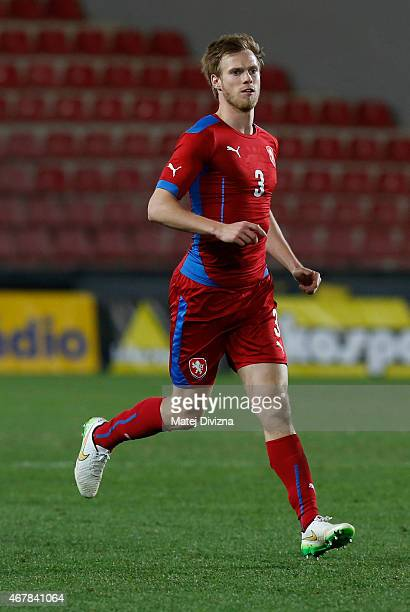 Tomas Kalas of Czech Republic in action during the international friendly match between U21 Czech Republic and U21 England at Letna Stadium on March...