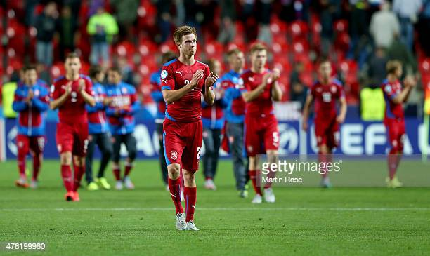 Tomas Kalas of Czech Republic looks dejected after the UEFA European Under21 Group A match between Germany and Czech Republic at Eden Stadium on June...