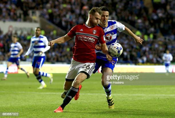 Tomas Kalas of Fulham handles the ball in the penalty area while under pressure from Yann Kermorgant of Reading and a peanlty is later awarded to...