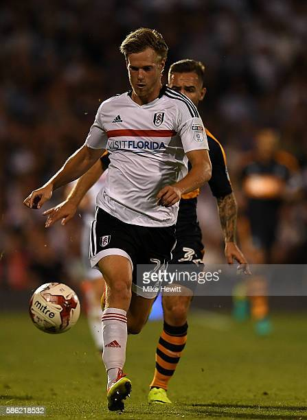 Tomas Kalas of Fulham holds off pressure from Adam Armstrong of Newcastle during the Sky Bet Championship match between Fulham and Newcastle United...
