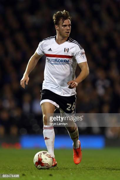 Tomas Kalas of Fulham in action during the Sky Bet Championship match between Fulham and Blackburn Rovers at Craven Cottage on March 14 2017 in...