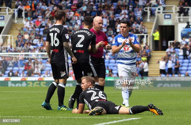 Tomas Kalas of Fulham is sent off during the Sky Bet Championship match between Reading and Fulham at Madejski Stadium on August 12 2017 in Reading...