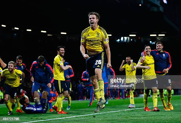 Tomas Kalas of Middlesbrough celebrates victory after the penalty shoot out during the Capital One Cup Fourth Round match between Manchester United...