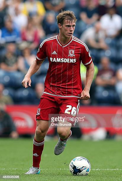 Tomas Kalas of Middlesbrough in action during the Sky Bet Championship match between Preston North End and Middlesbrough at Deepdale on August 9 2015...