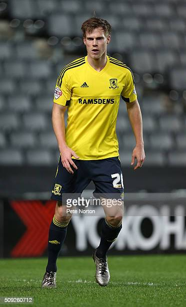 Tomas Kalas of Middlesbrough in action during the Sky Bet Championship match between Milton Keynes Dons and Middlesbrough at StadiumMK on February 9...