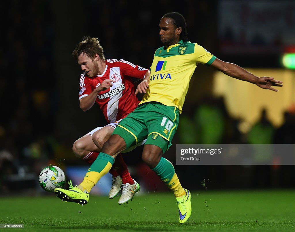Tomas Kalas of Middlesbrough is challenged by Cameron Jerome of Norwich City during the Sky Bet Championship match between Norwich City and Middlesbrough at Carrow Road on April 17, 2015 in Norwich, England.