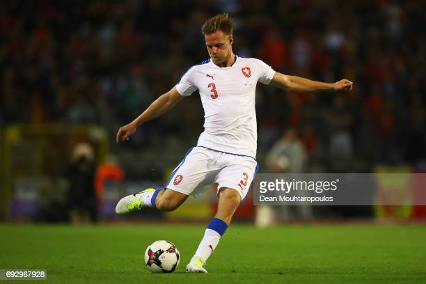 Tomas Kalas of the Czech Republic in action during the International Friendly match between Belgium and Czech Republic at Stade Roi Baudouis on June...