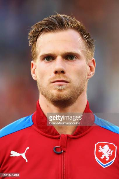 Tomas Kalas of the Czech Republic stand for the national anthem prior to the International Friendly match between Belgium and Czech Republic at Stade...