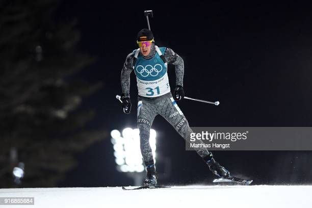Tomas Kaukenas of Lithuania competes during the Men's 10km Sprint Biathlon on day two of the PyeongChang 2018 Winter Olympic Games at Alpensia...