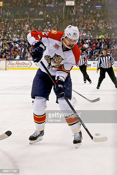 Tomas Kopecky of the Florida Panthers controls the puck during the game against the Columbus Blue Jackets on February 1 2014 at Nationwide Arena in...