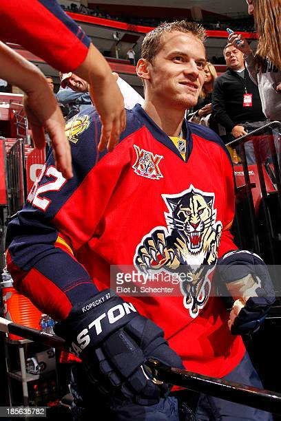 Tomas Kopecky of the Florida Panthers heads out to the ice prior to the start of the game against the Boston Bruins at the BBT Center on October 17...
