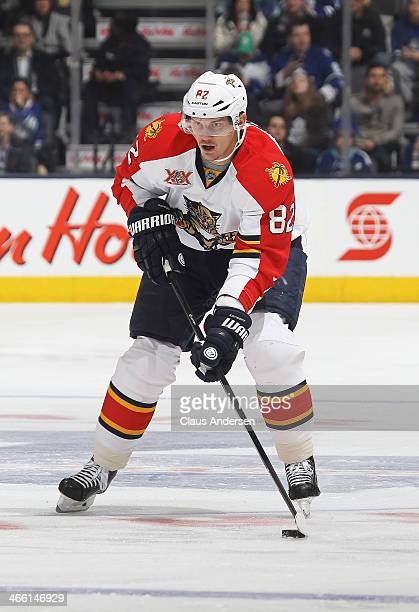 Tomas Kopecky of the Florida Panthers skates with the puck during an NHL game against the Toronto Maple Leafs at the Air Canada Centre on January 30...