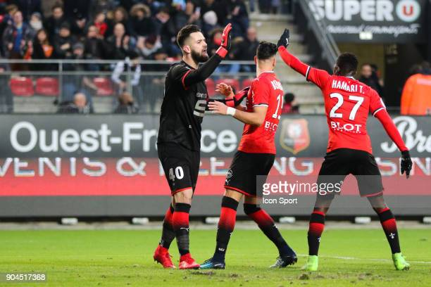 Tomas Koubek Goalkeeper of Rennes jubilates after stopping the penalty of Florian Thauvin of Marseille during the Ligue 1 match between Rennes and...