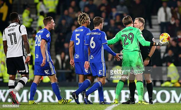 Tomas Kuszczak of Birmingham City protests to the referee after a penalty is awarded to Derby County during the Sky Bet Championship match between...