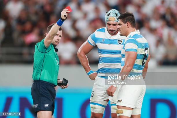 Tomas Lavanini of Argentina is shown a red card by referee Nigel Owens during the Rugby World Cup 2019 Group C game between England and Argentina at...