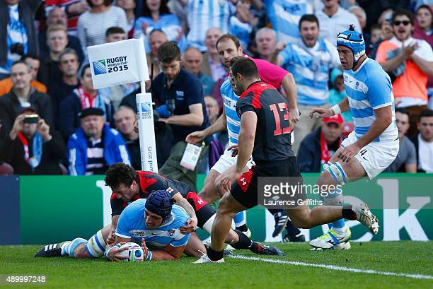 Tomas Lavanini of Argentina scores the opening try during the 2015 Rugby World Cup Pool C match between Argentina and Georgia at Kingsholm Stadium on...