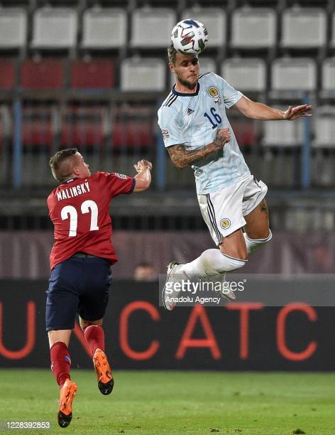 Tomas Malinsky of Czech Republic in action against Liam Cooper of Scotland during the UEFA Nations League soccer match between Czech Republic and...