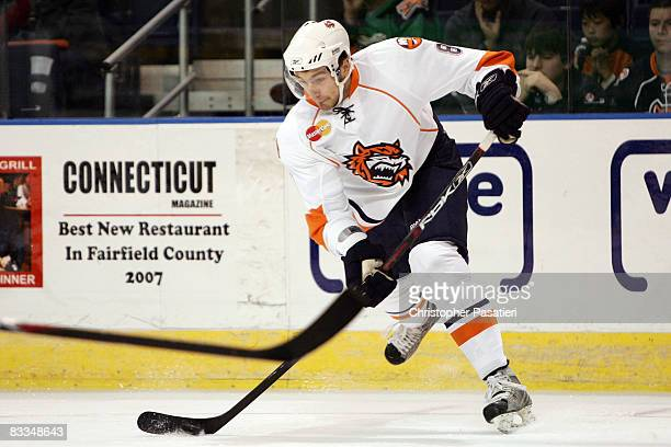 Tomas Marcinko of the Bridgeport Sound Tigers takes a shot on goal during the first period against the Philadelphia Phantoms on October 19 2008 at...