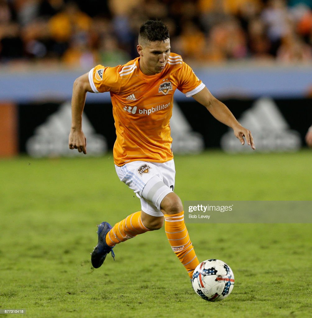 Tomas Martinez #25 of Houston Dynamo brings the ball up the field in the second half against the Seattle Sounders at BBVA Compass Stadium on November 21, 2017 in Houston, Texas.