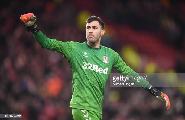 Tomas Mejias of Middlesbrough celebrates at full-time after the FA Cup Third Round match between Middlesbrough and Tottenham Hotspur at Riverside...