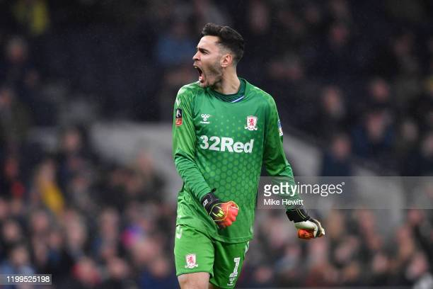 Tomas Mejias of Middlesbrough celebrates during the FA Cup Third Round Replay match between Tottenham Hotspur and Middlesbrough FC at Tottenham...