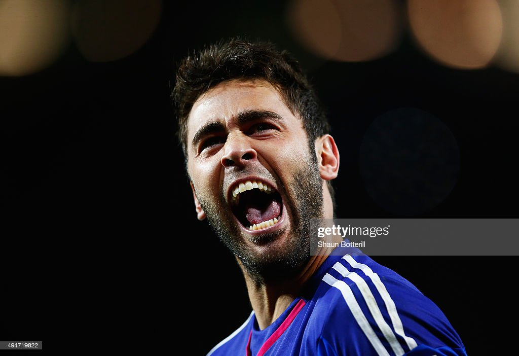 Tomas Mejias of Middlesbrough celebrates during the penalty shoot out during the Capital One Cup Fourth Round match between Manchester United and Middlesbrough at Old Trafford on October 28, 2015 in Manchester, England.