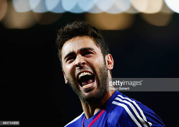 Tomas Mejias of Middlesbrough celebrates during the penalty shoot out during the Capital One Cup Fourth Round match between Manchester United and...