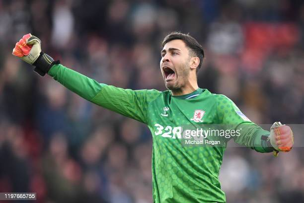 Tomas Mejias of Middlesbrough celebrates his team's first goal during the FA Cup Third Round match between Middlesbrough and Tottenham Hotspur at...