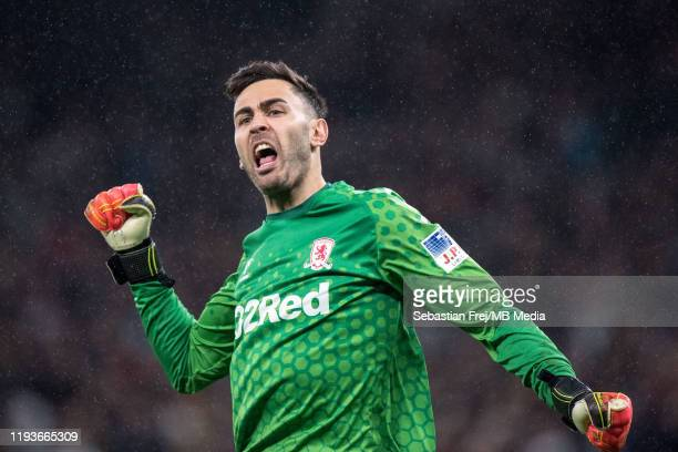 Tomas Mejias of Middlesbrough FC celebrates after his team scored a goal during the FA Cup Third Round Replay match between Tottenham Hotspur and...