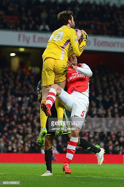 Tomas Mejias of Middlesbrough makes a save from Gabriel Paulista of Arsenal during the FA Cup fifth round match between Arsenal and Middlesbrough at...