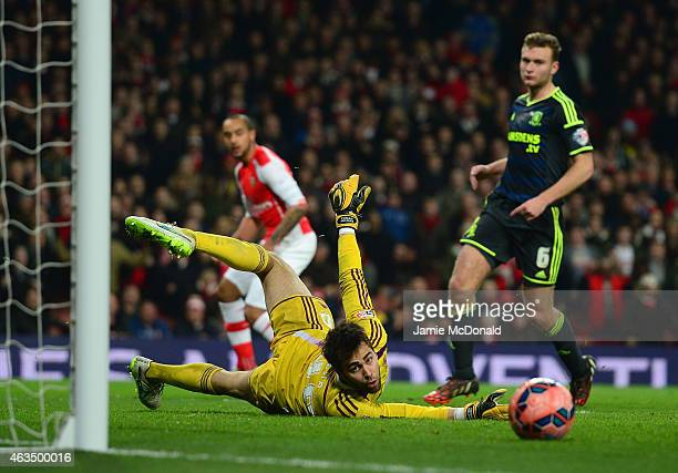 Tomas Mejias of Middlesbrough puts an effort from Theo Walcott of Arsenal wide of the goal during the FA Cup fifth round match between Arsenal and...