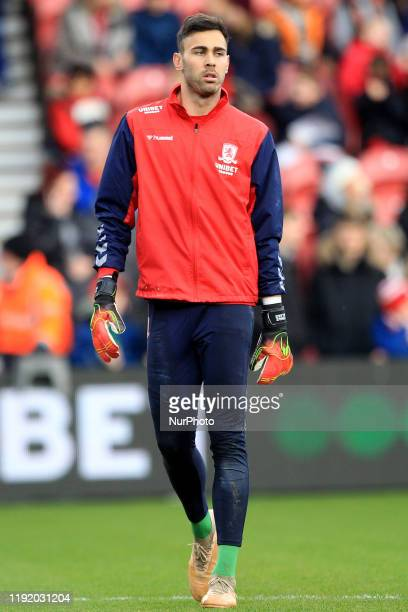 Tomas Mejias of Middlesbrough warms up prior to the FA Cup Third Round match between Middlesbrough and Tottenham Hotspur at the Riverside Stadium,...