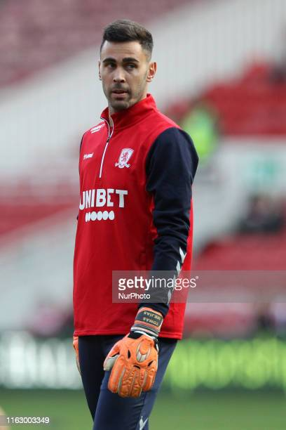 Tomas Mejias of Middlesbrough warms up prior to the Sky Bet Championship match between Middlesbrough and Wigan Athletic at the Riverside Stadium,...