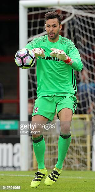 Tomas Mejias the Middlesbrough goalkeeper catches the ball during the pre season friendly match between York City and Middlesbrough at Bootham...