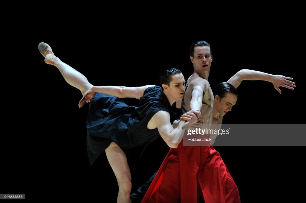 Tomas Mock, Calvin Richardson and Matthew Ball in the Royal Ballet's production of Wayne McGregor's Obsidian Tear at The Royal Opera House on April 13, 2018 in London, England.