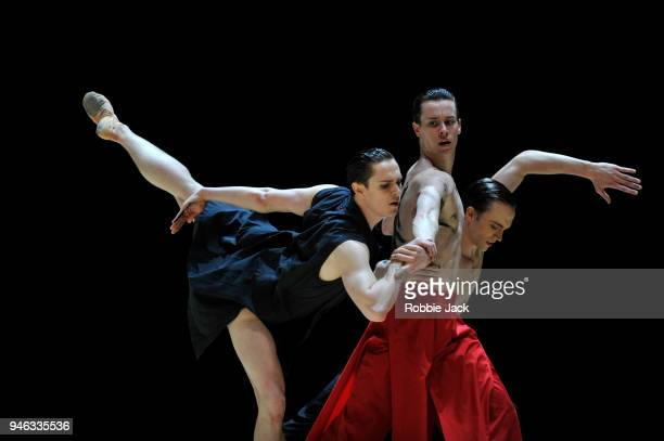 Tomas Mock, Calvin Richardson and Matthew Ball in the Royal Ballet's production of Wayne McGregor's Obsidian Tear at The Royal Opera House on April...